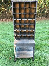 Antique Post Office Mail Box W/28 Covey Holes