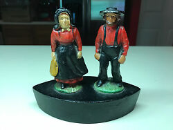 Collectible Cast Iron Amish Husband And Wife Man Woman Door Stopper Doorstop.
