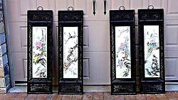 Early 20c Chinese 4 Panel Painting On Porcelain Plaques Of 4 Season Birds Framed