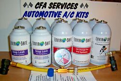 10 Can Refrigerant Recharge Kit +oil+ Stop Leak For R12 Systems.1994-older Cars