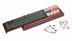 Royal Cribbage Board Walnut Box Storage With Pegs And Two Decks And Dealer Button