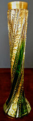 Art Nouveau Moser 1900's Unique Spiraled Green, Clear And Gold Gilt, Old Nice Fine