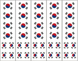 40 Removable Stickers: South Korean Flag Korea Party Favors Decals