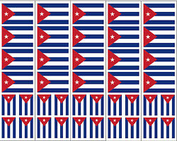40 Removable Stickers: Cuba Flag Cuban Party Favors Decals