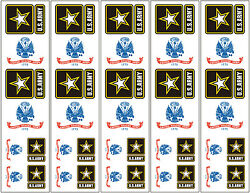 40 Removable Stickers: US Army Flag amp; Logo Military Party Favors Decals