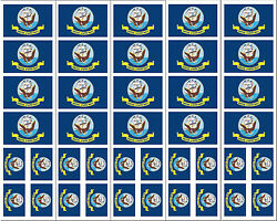 40 Removable Stickers: US Navy Flag Military Party Favors Decals