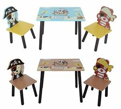 Kiddi Style Childrens Pirate Wooden Table And Chair Set Kids Toddlers Childs Kids