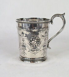 Hyde And Goodrich New Orleans Southern Coin Silver Hand Chased Cup Mug