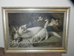 Beautiful Antique Oil On Canvas Painting Kittens C1900 Signed - 18x27 - Lqqk
