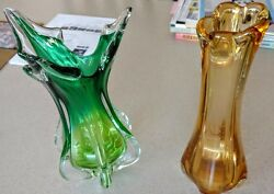 Czech-bohemian 2 Vases 1 Green To Clear, 1 Amber Hand Blown Art Glass Vases