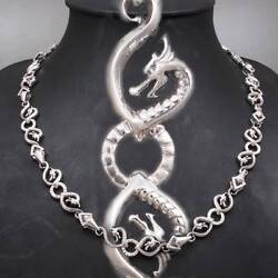 Dragon Snake Art Chain Mens Necklace 925 Sterling Solid Silver 18 20 22 24 26
