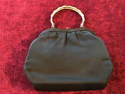 Vintage After Five Evening Bag Clutch Purse Gold Tone Clasp and Handle SILKY