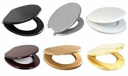 Mdf Wooden Toilet Seat +fittings Adjustable Chrome Hinges Available In 6colours