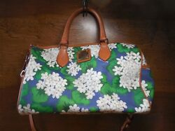Dooney and Bourke White Marine Blue Hydrangea Barrel Bag and Coin Purse