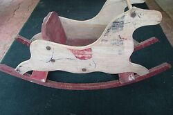 Antique Primitive Hand Painted Folk Art Rocking Horse Toy Chair, 19th Century