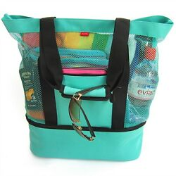 Aruba Mesh Beach Tote Bag with Zipper Top and Insulated Picnic Cooler Turquoise