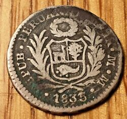 Very Rare 1835 Peru Real Silver 1835/3 Reported, Not Confirmed Republic Lima