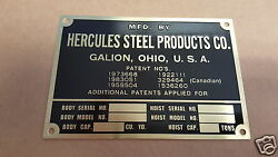 Hercules Steel Products Etched Brass Data Plate Galion Ohio
