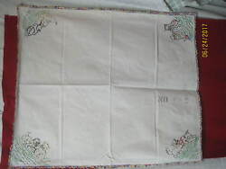 Vintage Feedsack Tablecloth Embroidered Kittens Puppies Playing Crochet Border