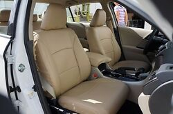 HONDA ACCORD 2013 2016 BEIGE S.LEATHER CUSTOM MADE FIT FRONT SEAT COVER $149.00