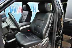 FORD F 250 F 350 2011 2016 BLACK IGGEE S.LEATHER CUSTOM FIT FRONT SEAT COVERS $149.00