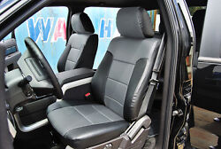 FORD F 150 2009 2014 BLACK GREY IGGEE S.LEATHER CUSTOM FIT FRONT SEAT COVER $149.00