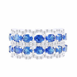 3.57 Ct Oval Blue Sapphire And White Diamond Band Ring Solid 18k White Gold