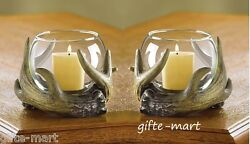 2 Deer Antler Hunting Lodge Rustic Country Western Statue Votive Candle Holder