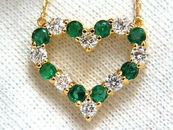 Natural Emeralds And Diamonds Open Heart Necklace 1.84ct. 14kt G/vs