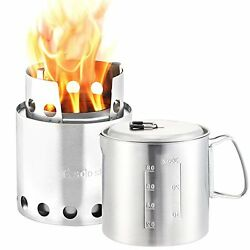 Camping Hiking Solo Stove & Pot 900 Combo: Ultralight Wood Burning Backpacking