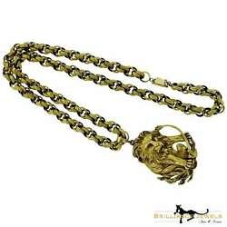 Magnificent Vintage Yellow Gold Zodiac Leo Pendant and Chain Necklace