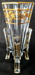 Baccarat Art Deco Rocket Vase Classy Thick Crystal Heavy Gold Gilding 20and039s