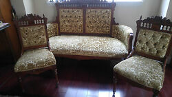 Antique 1800s Eastlake Victorian Settee Love Seat And Two Chairs.