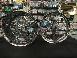 CHROME 300 FAT TIRE FELON WHEELS AND SPROCKET FOR 2000-2005 KAWASAKI ZX12R