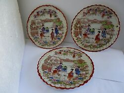 Set Of 3 Antique Japanese Hand-painted Decorated Plates, D 21.5 Cm