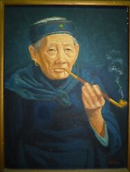 Fine Vtg Oil Painting Old Chinese Womanw Smoking Pipe Signed Eastman 40 X 30cm