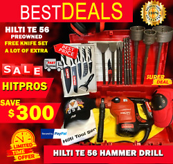 Hilti Te 56 Hammer Drill Preowned Free Knife Set A Lot Of Extras Fast Ship