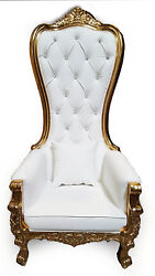 Chair - High Back Chair - Queen High Back Chair - White Leather W/ Gold Frame