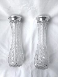 Pair Antique German Handcut Crystal Vases With 800 Silver Trims