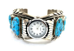 Native American Sterling Silver Navajo Handmade Watch Turquoise Cuff Bracelet