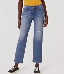 Ann Taylor Loft Straight Crop Jeans Pants In Destructed Stonewash Size 27/4 Nwt