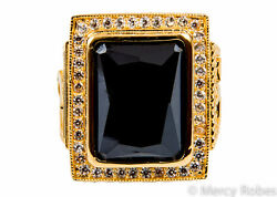 New Menand039s Clergy Ring Subs710 G-black Sterling Silver W/gold Finish