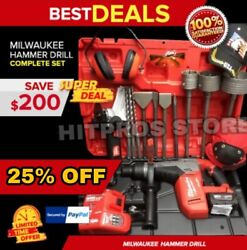 Milwaukee Cordless Hammer Drill, Sds Max, Free Grinder, Bunch Extras, Fast Ship