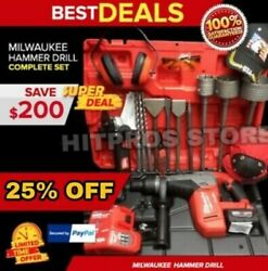 Milwaukee Cordless Hammer Drill, Sds Max, Free Thermo, Bunch Extras, Fast Ship