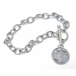 New Year To Remember Sterling Silver Toggle Dime Coin Bracelet 1976