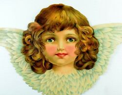 1870's-80's Lovely Giant Winged Angel Die Cut Victorian 7 1/4 X 12 1/2 L17