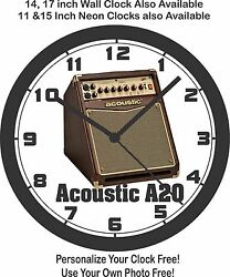 Acoustic A20 Guitar Amp Wall Clock-free Usa Ship, Fender, Gibson, Peavey