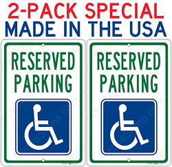 2-pack Reserved Handicap Parking Sign - Aluminum Metal Signs 8x12 Made In Usa