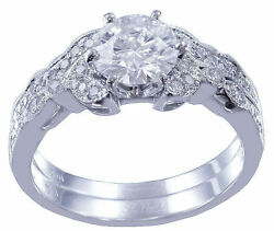14k White Gold Round Cut Diamond Engagement Ring And Band Bridal Style 1.15ctw