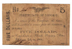 1862 The State Bank Of Florida Tallahassee- 5 Certificate Of Deposit - Rare